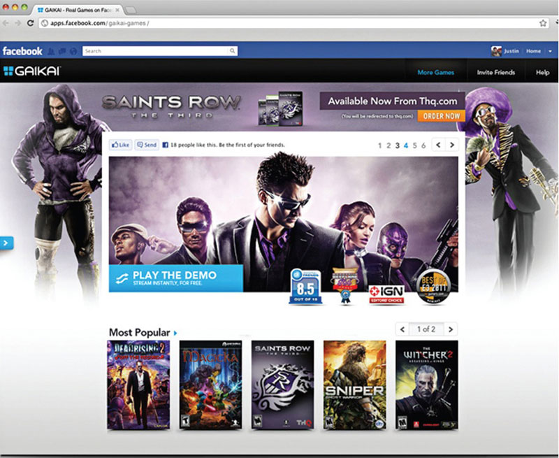 Gaikai Saints Row Interface