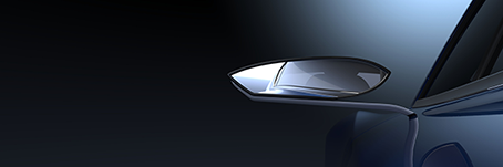Car mirror rendered with CATIA and a Quadro graphics card