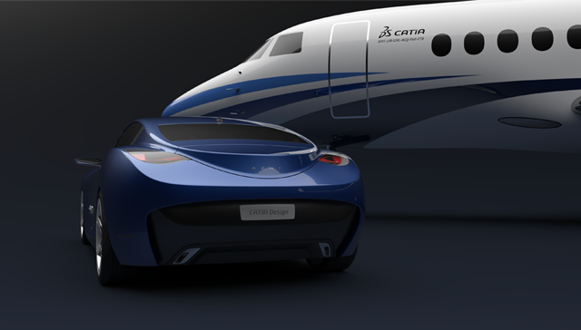 Close-up of car and jet rendered with CATIA