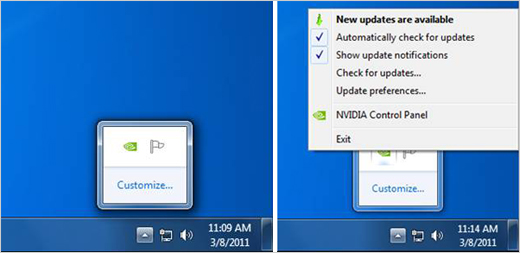 Configure NVIDIA Update - Windows System Tray