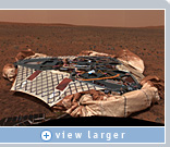 This panoramic image, transmitted to NASA by Spirit, may encapsulate the rover's journey from lander to final destination toward the east hills (about two miles away). Images like this one, after being transformed along with other data into 3D virtual reality by Viz and NVIDIA graphics, allow scientists to better plan the rover's journey. Image courtesy of NASA/JPL/Cornell.
