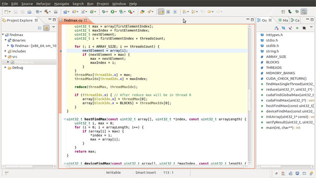Editor screenshot from Nsight, Eclipse Edition